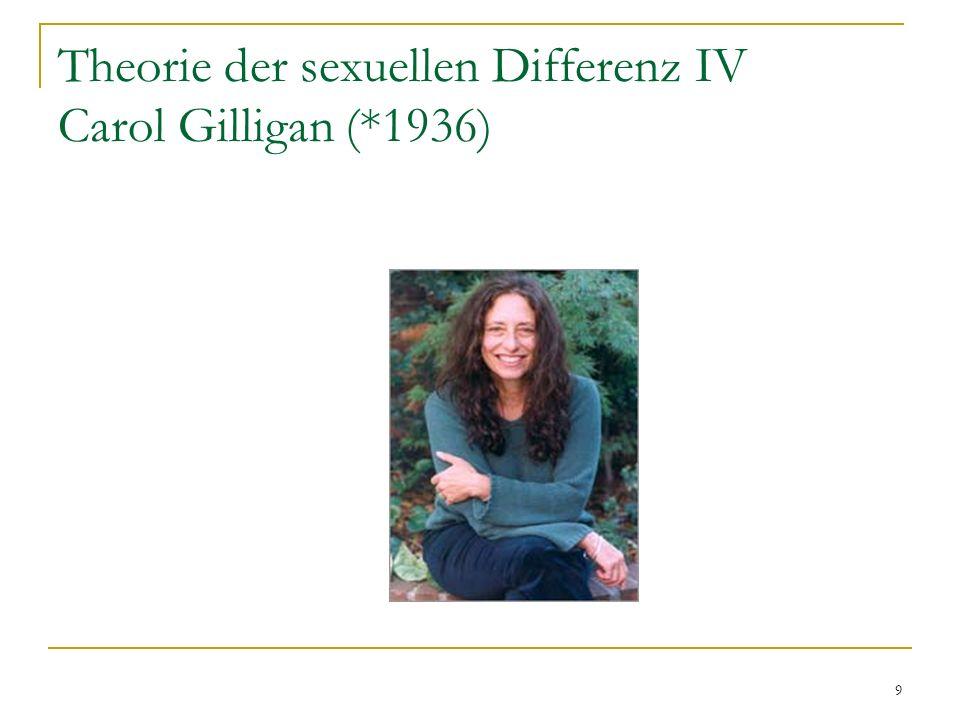 10 Theorie der sexuellen Differenz V I Zentrale Problemstellung: Existiert ein empirischer Zusammenhang zwischen Geschlecht und moralischer Perspektive.