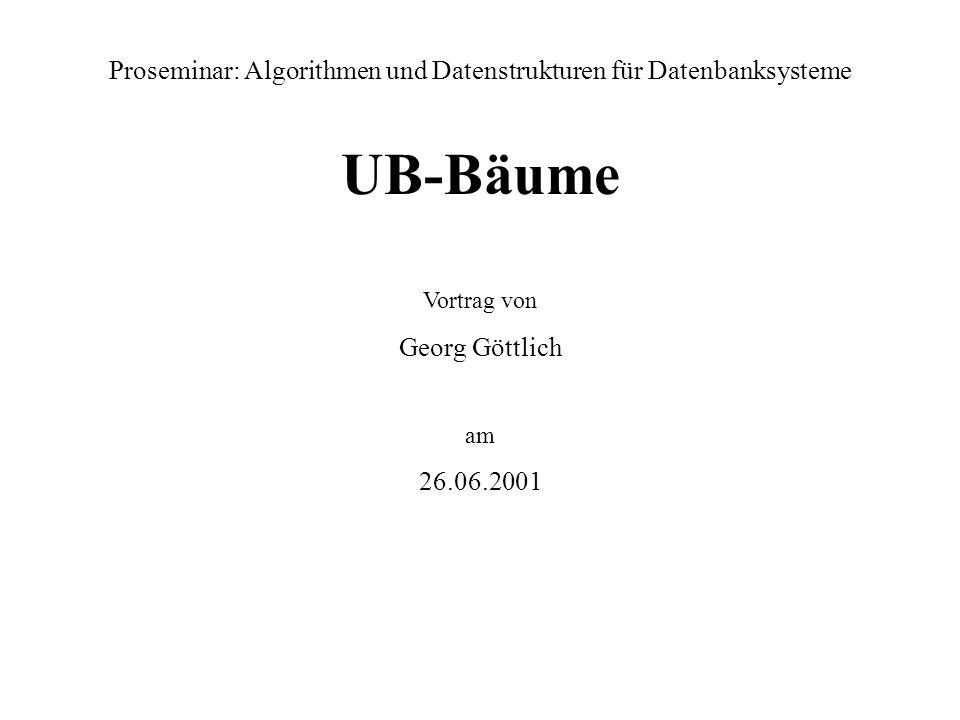 UB-Bäume Vortrag von Georg Göttlich am 26.06.2001 Proseminar: Algorithmen und Datenstrukturen für Datenbanksysteme
