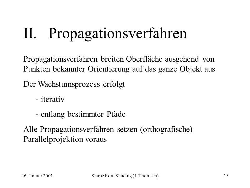 26. Januar 2001Shape from Shading (J. Thomsen)13 II.Propagationsverfahren Propagationsverfahren breiten Oberfläche ausgehend von Punkten bekannter Ori