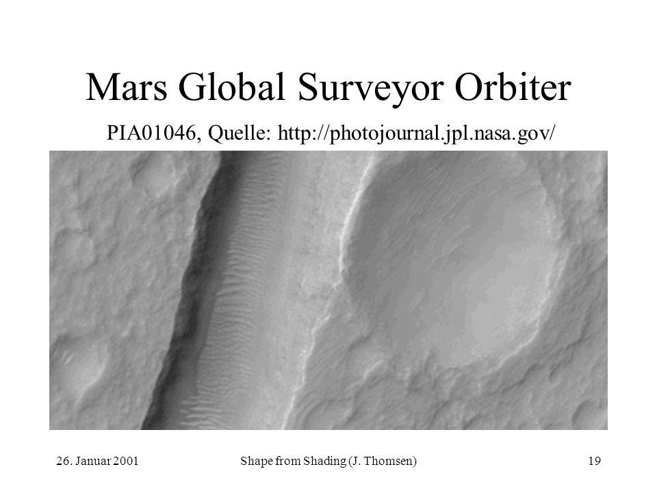 26. Januar 2001Shape from Shading (J. Thomsen)19 Mars Global Surveyor Orbiter PIA01046, Quelle: http://photojournal.jpl.nasa.gov/