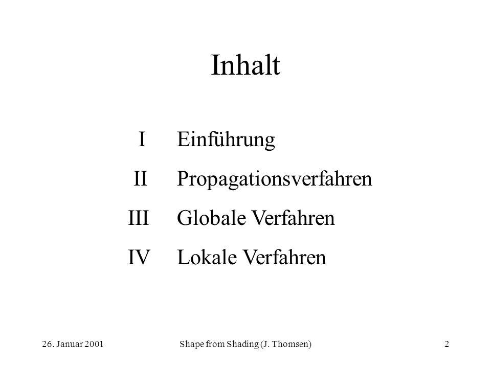 26. Januar 2001Shape from Shading (J. Thomsen)2 Inhalt IEinführung IIPropagationsverfahren IIIGlobale Verfahren IVLokale Verfahren