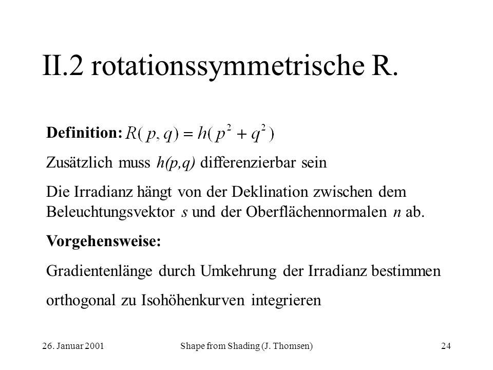 26. Januar 2001Shape from Shading (J. Thomsen)24 II.2rotationssymmetrische R. Definition: Zusätzlich muss h(p,q) differenzierbar sein Die Irradianz hä