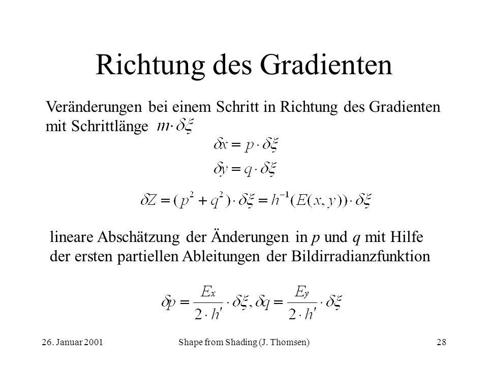 26. Januar 2001Shape from Shading (J. Thomsen)28 Richtung des Gradienten Veränderungen bei einem Schritt in Richtung des Gradienten mit Schrittlänge l