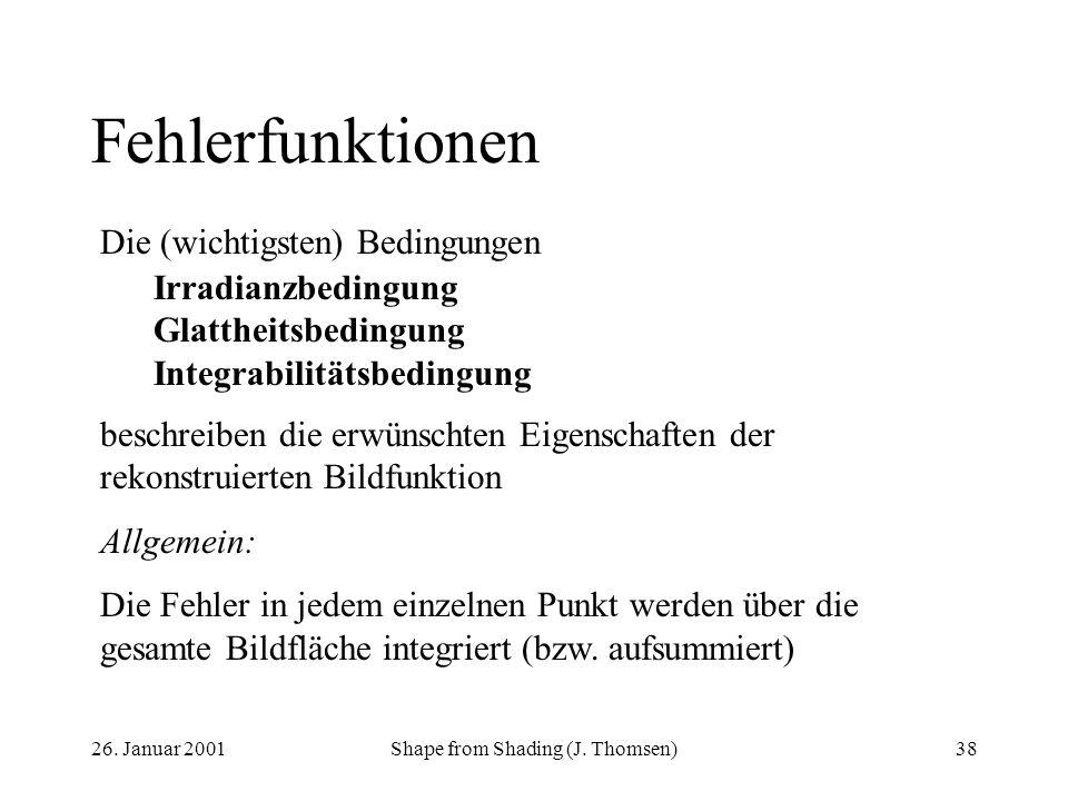 26. Januar 2001Shape from Shading (J. Thomsen)38 Fehlerfunktionen Die (wichtigsten) Bedingungen Irradianzbedingung Glattheitsbedingung Integrabilitäts