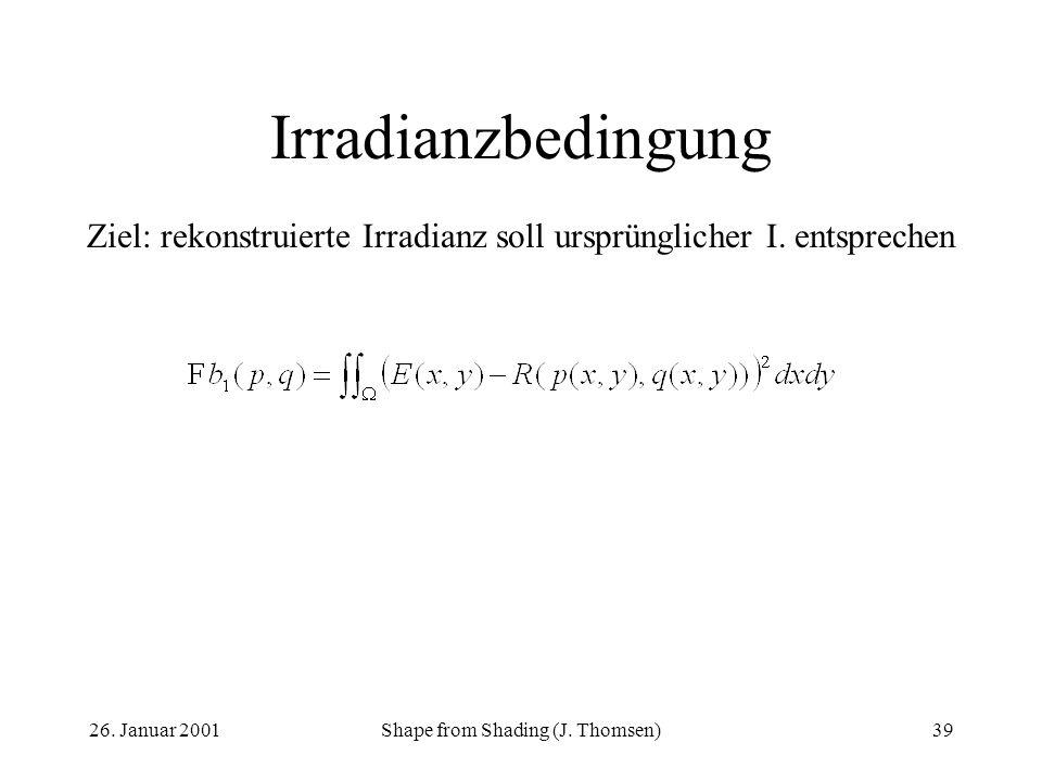 26. Januar 2001Shape from Shading (J. Thomsen)39 Irradianzbedingung Ziel: rekonstruierte Irradianz soll ursprünglicher I. entsprechen
