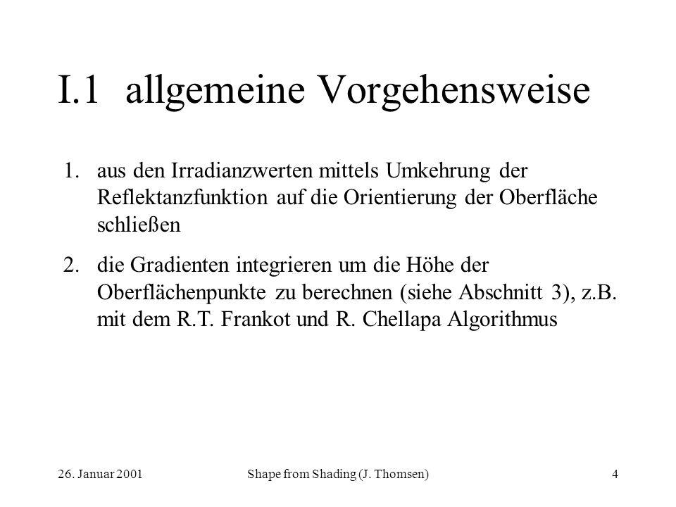 26. Januar 2001Shape from Shading (J. Thomsen)4 I.1allgemeine Vorgehensweise 1.aus den Irradianzwerten mittels Umkehrung der Reflektanzfunktion auf di