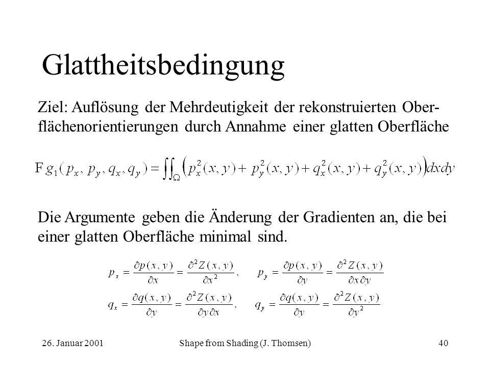 26. Januar 2001Shape from Shading (J. Thomsen)40 Glattheitsbedingung Die Argumente geben die Änderung der Gradienten an, die bei einer glatten Oberflä