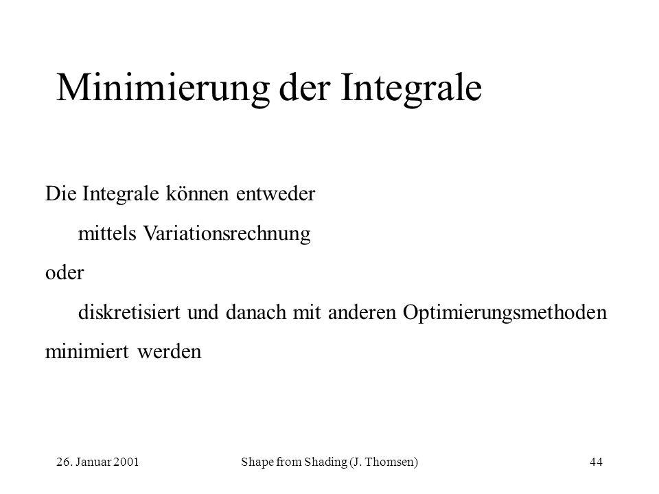 26. Januar 2001Shape from Shading (J. Thomsen)44 Minimierung der Integrale Die Integrale können entweder mittels Variationsrechnung oder diskretisiert