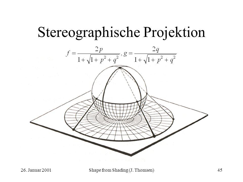 26. Januar 2001Shape from Shading (J. Thomsen)45 Stereographische Projektion