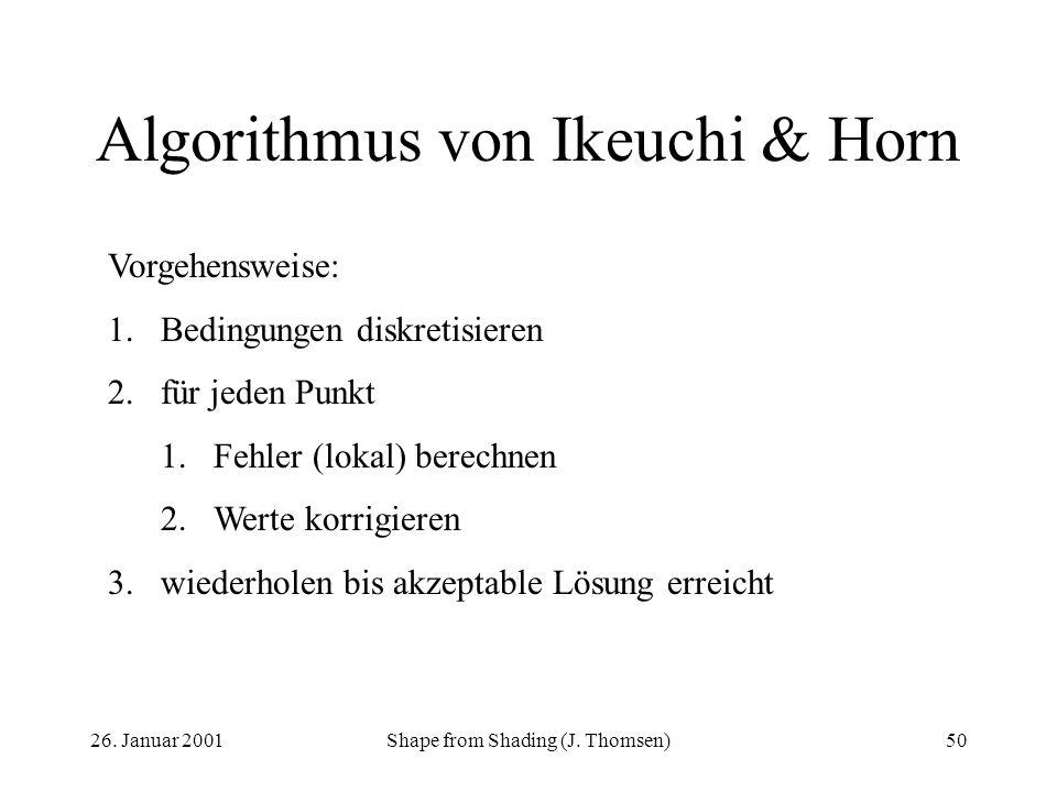 26. Januar 2001Shape from Shading (J. Thomsen)50 Algorithmus von Ikeuchi & Horn Vorgehensweise: 1.Bedingungen diskretisieren 2.für jeden Punkt 1.Fehle