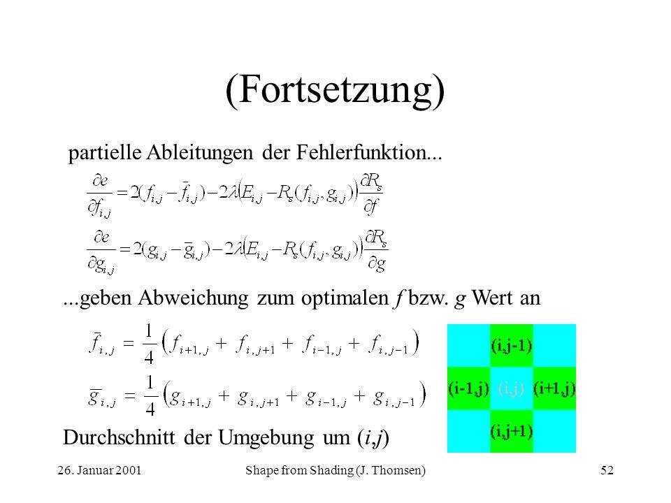 26. Januar 2001Shape from Shading (J. Thomsen)52 (Fortsetzung) partielle Ableitungen der Fehlerfunktion......geben Abweichung zum optimalen f bzw. g W