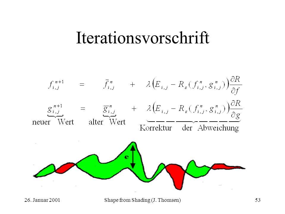 26. Januar 2001Shape from Shading (J. Thomsen)53 Iterationsvorschrift