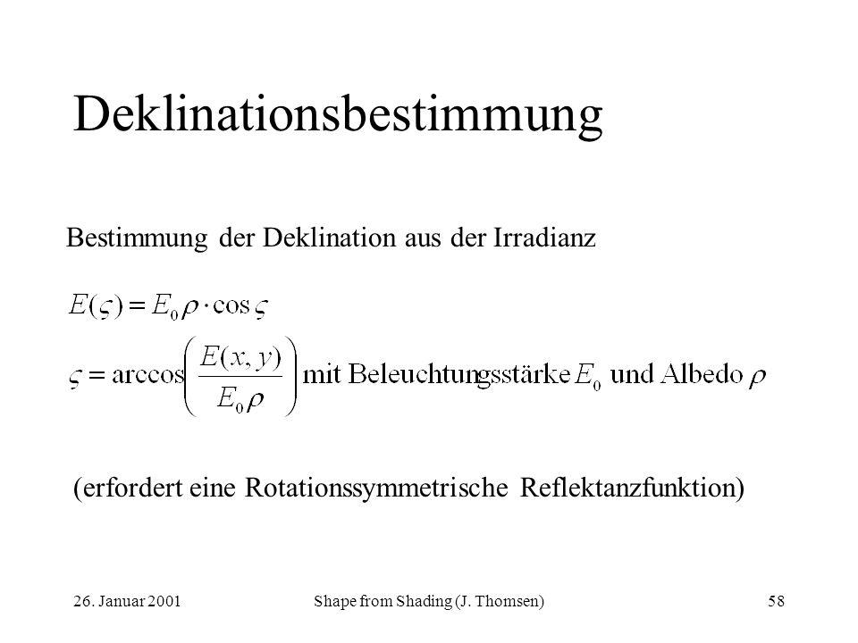 26. Januar 2001Shape from Shading (J. Thomsen)58 Deklinationsbestimmung Bestimmung der Deklination aus der Irradianz (erfordert eine Rotationssymmetri
