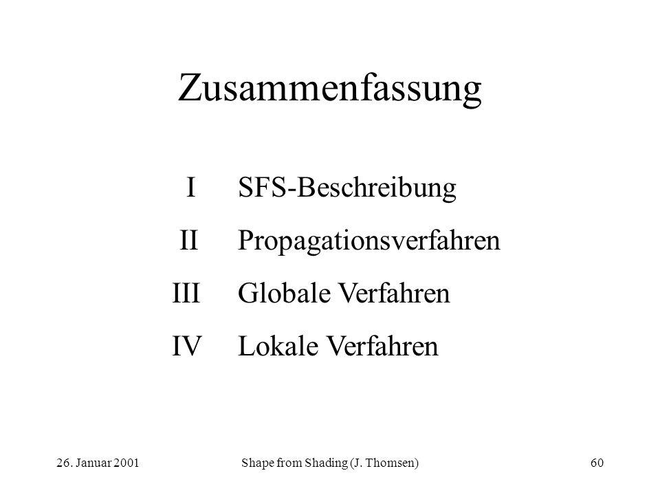 26. Januar 2001Shape from Shading (J. Thomsen)60 Zusammenfassung ISFS-Beschreibung IIPropagationsverfahren IIIGlobale Verfahren IVLokale Verfahren