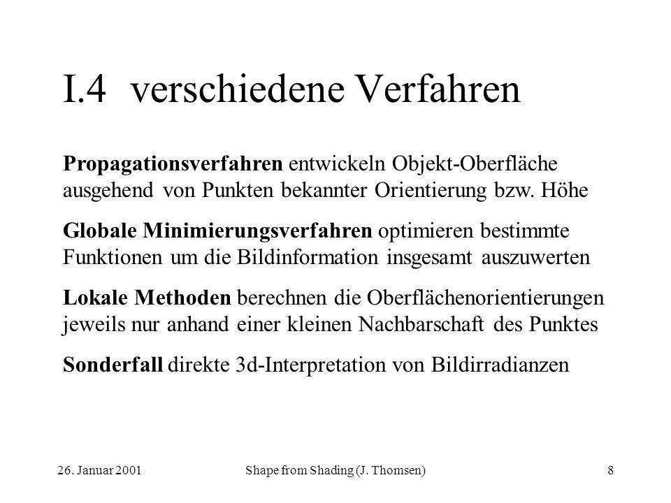 26. Januar 2001Shape from Shading (J. Thomsen)8 I.4verschiedene Verfahren Propagationsverfahren entwickeln Objekt-Oberfläche ausgehend von Punkten bek