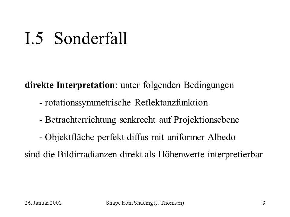 26. Januar 2001Shape from Shading (J. Thomsen)9 I.5Sonderfall direkte Interpretation: unter folgenden Bedingungen - rotationssymmetrische Reflektanzfu