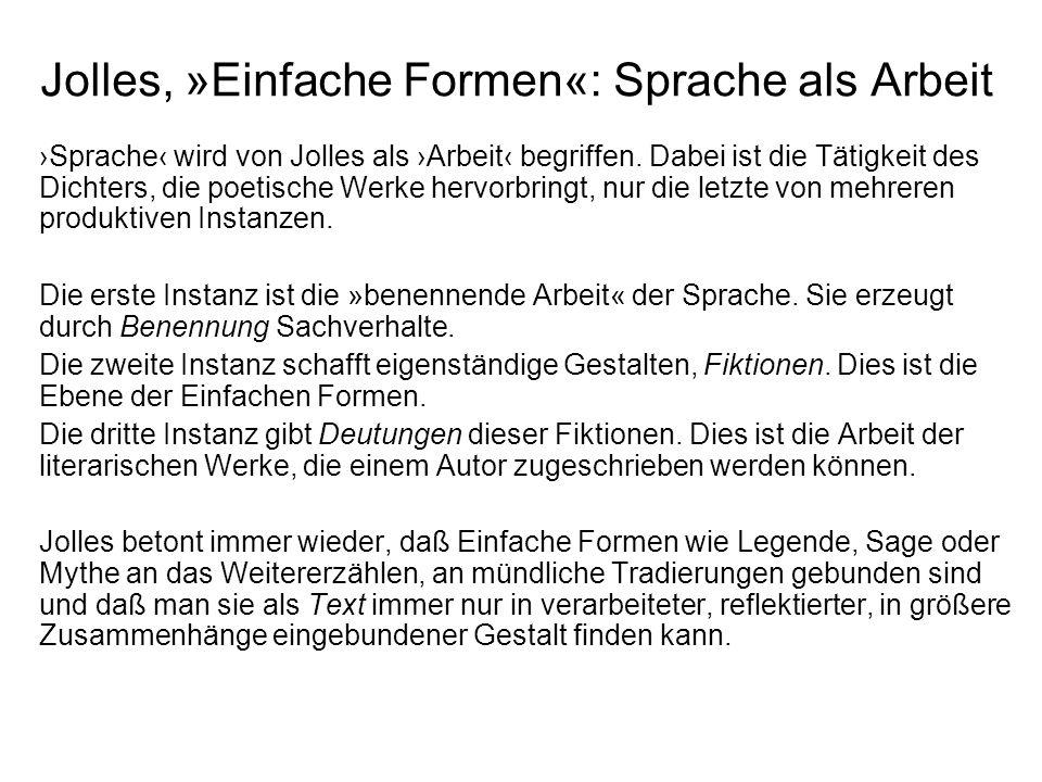 Jolles, »Einfache Formen«: Sprache als Arbeit Sprache wird von Jolles als Arbeit begriffen. Dabei ist die Tätigkeit des Dichters, die poetische Werke