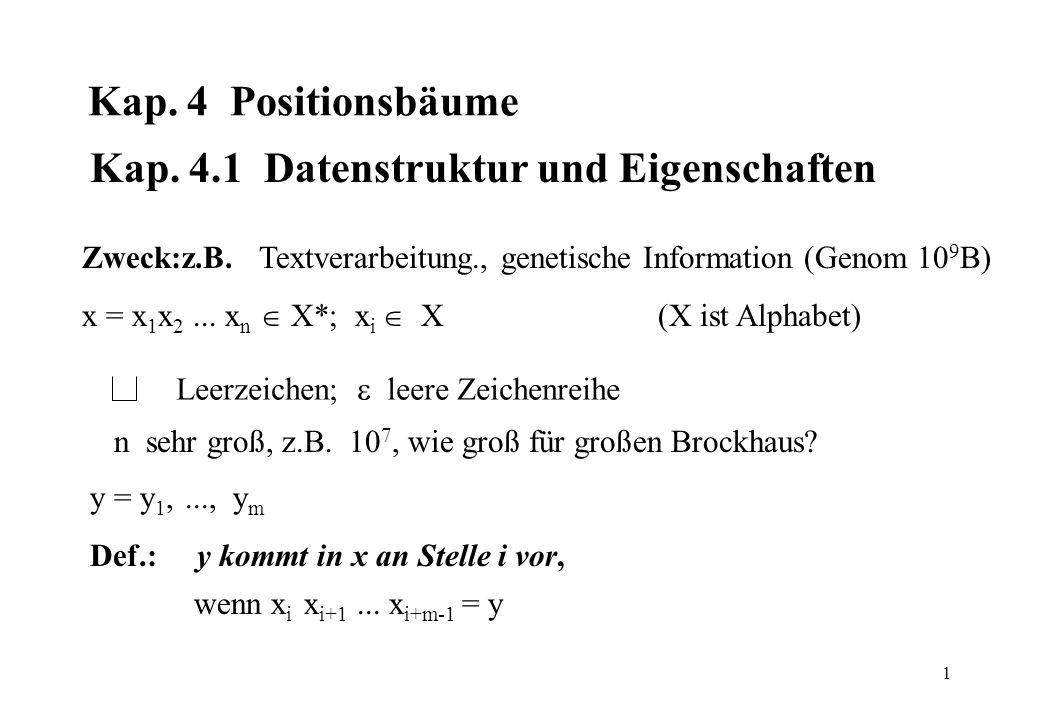 1 Kap. 4 Positionsbäume Kap. 4.1 Datenstruktur und Eigenschaften Zweck:z.B. Textverarbeitung., genetische Information (Genom 10 9 B) x = x 1 x 2... x