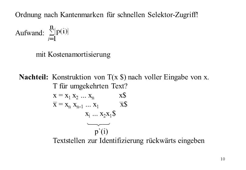 10 Ordnung nach Kantenmarken für schnellen Selektor-Zugriff! Aufwand: mit Kostenamortisierung Nachteil: Konstruktion von T(x $) nach voller Eingabe vo