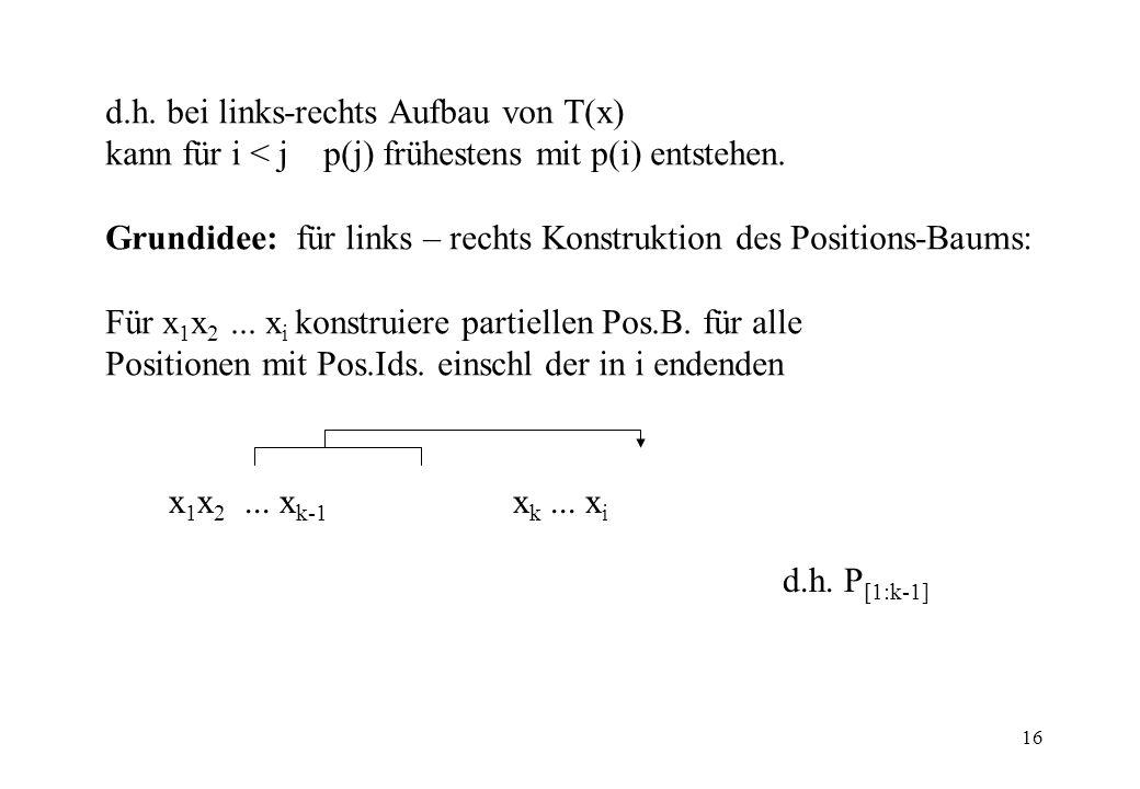 16 d.h. bei links-rechts Aufbau von T(x) kann für i < j p(j) frühestens mit p(i) entstehen. Grundidee: für links – rechts Konstruktion des Positions-B