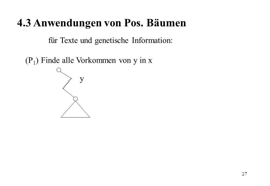 27 4.3 Anwendungen von Pos. Bäumen für Texte und genetische Information: (P 1 ) Finde alle Vorkommen von y in x y