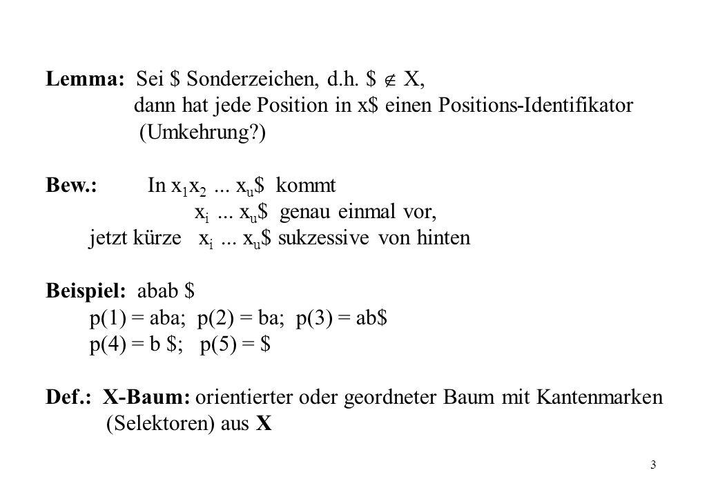 3 Lemma: Sei $ Sonderzeichen, d.h. $ X, dann hat jede Position in x$ einen Positions-Identifikator (Umkehrung?) Bew.: In x 1 x 2... x u $ kommt x i...