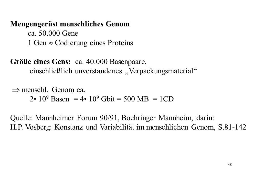 30 Mengengerüst menschliches Genom ca. 50.000 Gene 1 Gen Codierung eines Proteins Größe eines Gens: ca. 40.000 Basenpaare, einschließlich unverstanden