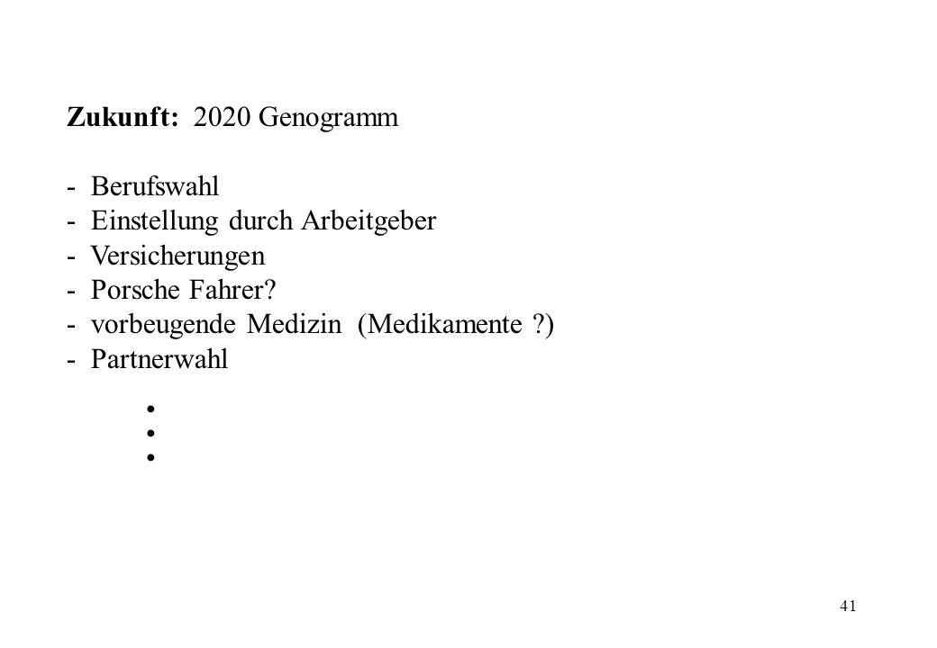 41 Zukunft: 2020 Genogramm - Berufswahl - Einstellung durch Arbeitgeber - Versicherungen - Porsche Fahrer? - vorbeugende Medizin (Medikamente ?) - Par