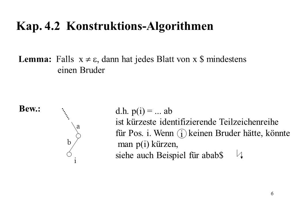 6 Kap. 4.2 Konstruktions-Algorithmen Lemma: Falls x, dann hat jedes Blatt von x $ mindestens einen Bruder d.h. p(i) =... ab ist kürzeste identifiziere
