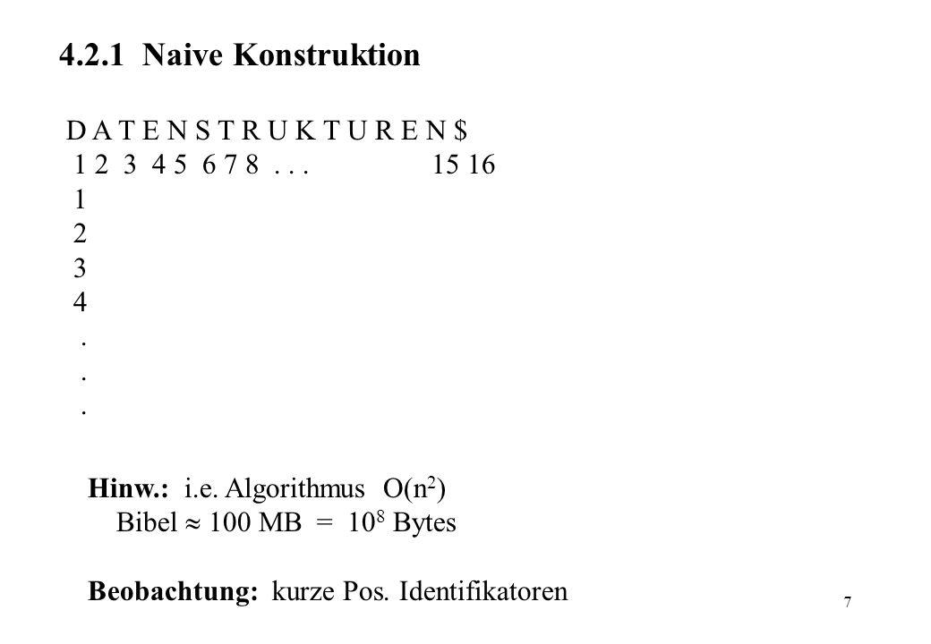 7 4.2.1 Naive Konstruktion D A T E N S T R U K T U R E N $ 1 2 3 4 5 6 7 8... 15 16 1 2 3 4. Hinw.: i.e. Algorithmus (n 2 ) Bibel 100 MB = 10 8 Bytes