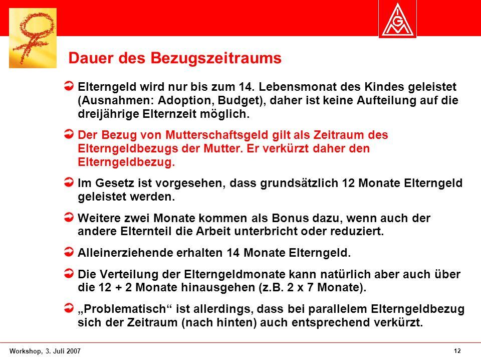 12 Workshop, 3. Juli 2007 Dauer des Bezugszeitraums Elterngeld wird nur bis zum 14. Lebensmonat des Kindes geleistet (Ausnahmen: Adoption, Budget), da