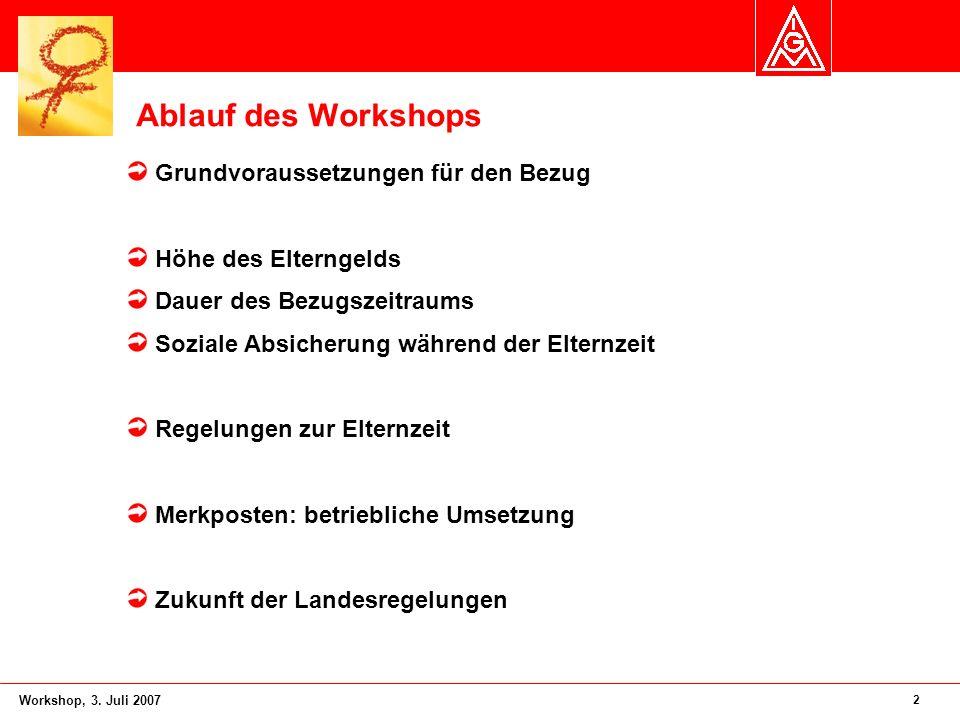 2 Workshop, 3. Juli 2007 Ablauf des Workshops Grundvoraussetzungen für den Bezug Höhe des Elterngelds Dauer des Bezugszeitraums Soziale Absicherung wä