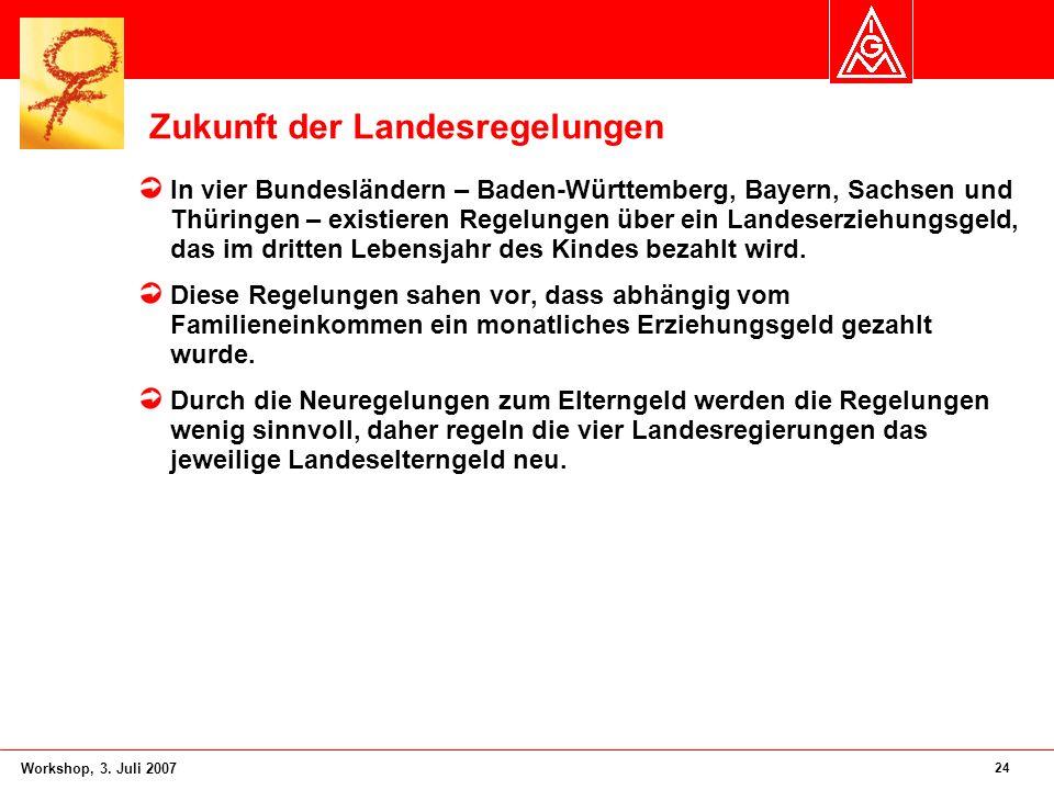 24 Workshop, 3. Juli 2007 Zukunft der Landesregelungen In vier Bundesländern – Baden-Württemberg, Bayern, Sachsen und Thüringen – existieren Regelunge
