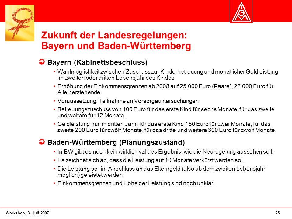 25 Workshop, 3. Juli 2007 Zukunft der Landesregelungen: Bayern und Baden-Württemberg Bayern (Kabinettsbeschluss) Wahlmöglichkeit zwischen Zuschuss zur