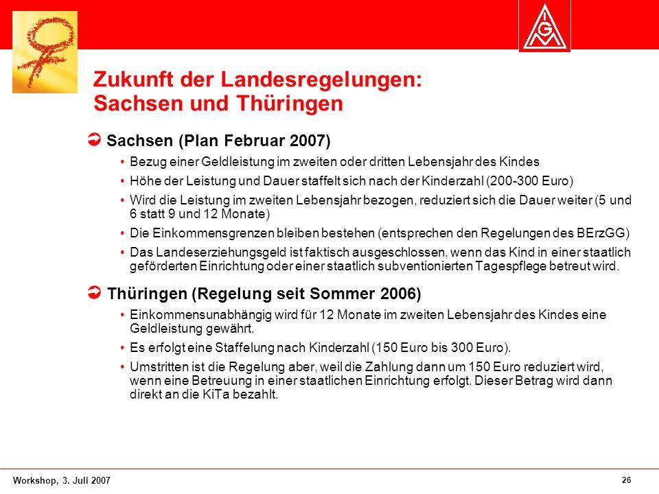 26 Workshop, 3. Juli 2007 Zukunft der Landesregelungen: Sachsen und Thüringen Sachsen (Plan Februar 2007) Bezug einer Geldleistung im zweiten oder dri