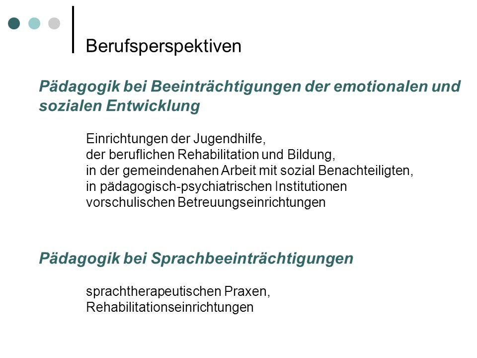 Berufsperspektiven Pädagogik bei Beeinträchtigungen der emotionalen und sozialen Entwicklung Einrichtungen der Jugendhilfe, der beruflichen Rehabilita