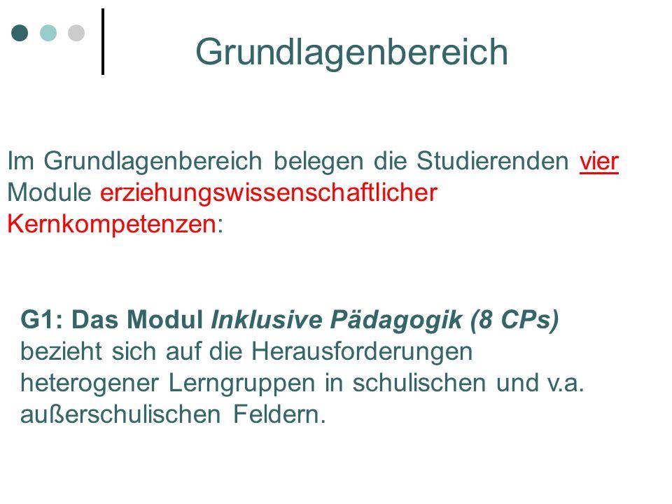 Im Grundlagenbereich belegen die Studierenden vier Module erziehungswissenschaftlicher Kernkompetenzen: G1: Das Modul Inklusive Pädagogik (8 CPs) bezi