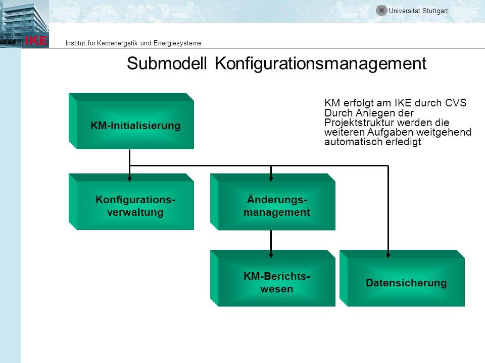 Universität Stuttgart Institut für Kernenergetik und Energiesysteme Submodell Konfigurationsmanagement KM erfolgt am IKE durch CVS Durch Anlegen der P