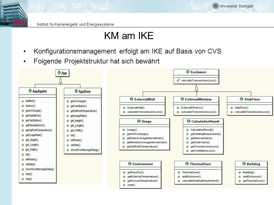 Universität Stuttgart Institut für Kernenergetik und Energiesysteme KM am IKE Konfigurationsmanagement erfolgt am IKE auf Basis von CVS Folgende Proje
