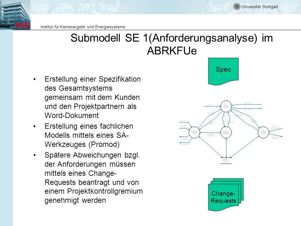 Universität Stuttgart Institut für Kernenergetik und Energiesysteme Submodell SE 1(Anforderungsanalyse) im ABRKFUe Erstellung einer Spezifikation des