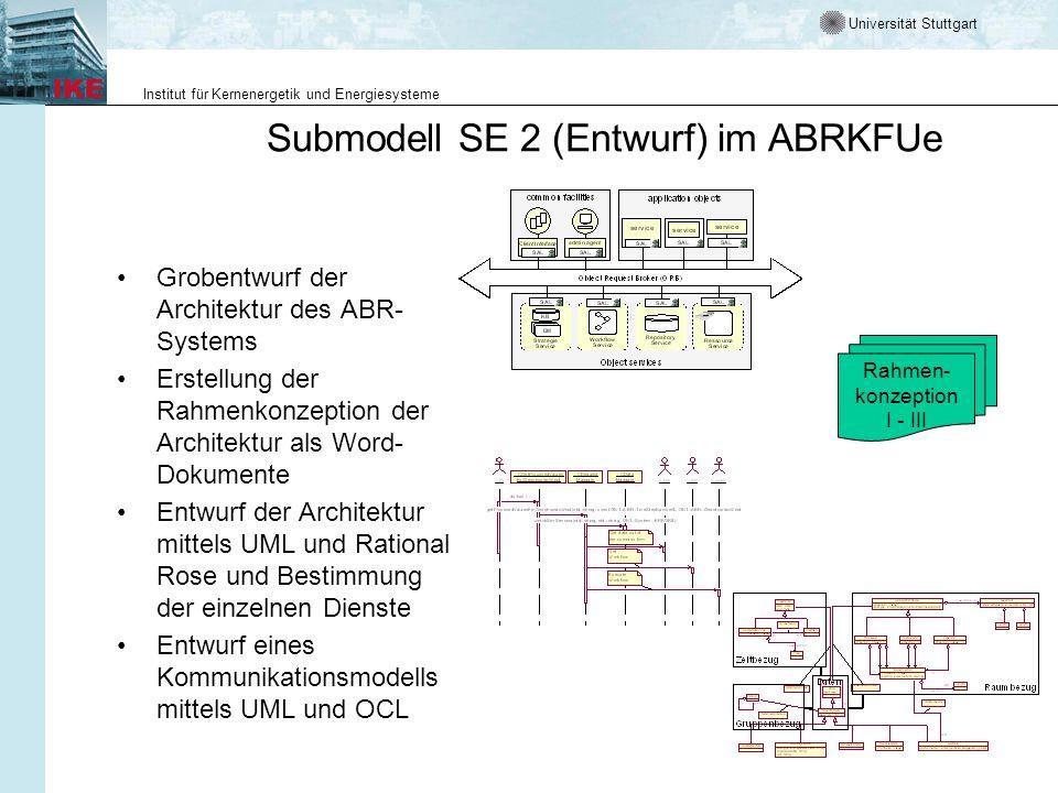 Universität Stuttgart Institut für Kernenergetik und Energiesysteme Submodell SE 2 (Entwurf) im ABRKFUe Grobentwurf der Architektur des ABR- Systems E