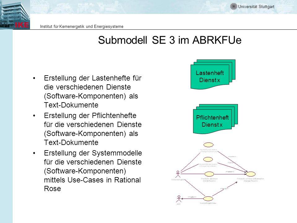 Universität Stuttgart Institut für Kernenergetik und Energiesysteme Submodell SE 3 im ABRKFUe Erstellung der Lastenhefte für die verschiedenen Dienste