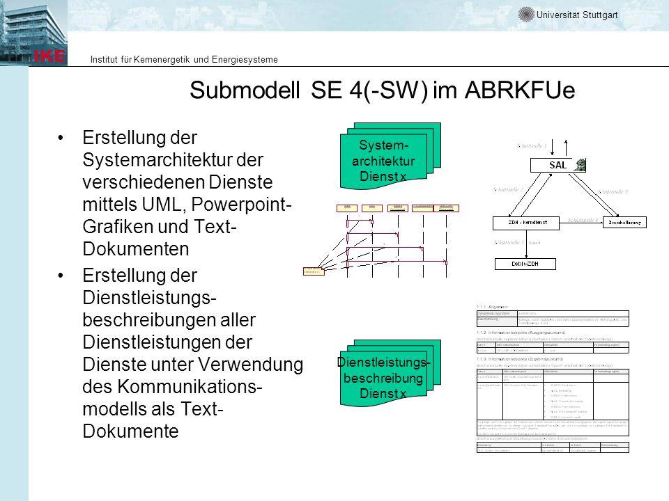 Universität Stuttgart Institut für Kernenergetik und Energiesysteme Submodell SE 4(-SW) im ABRKFUe Erstellung der Systemarchitektur der verschiedenen