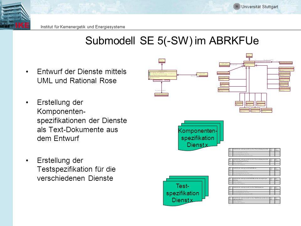 Universität Stuttgart Institut für Kernenergetik und Energiesysteme Submodell SE 5(-SW) im ABRKFUe Entwurf der Dienste mittels UML und Rational Rose E