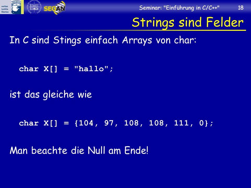 Seminar: Einführung in C/C++ 18 Strings sind Felder In C sind Stings einfach Arrays von char: char X[] = hallo ; ist das gleiche wie char X[] = {104, 97, 108, 108, 111, 0}; Man beachte die Null am Ende!