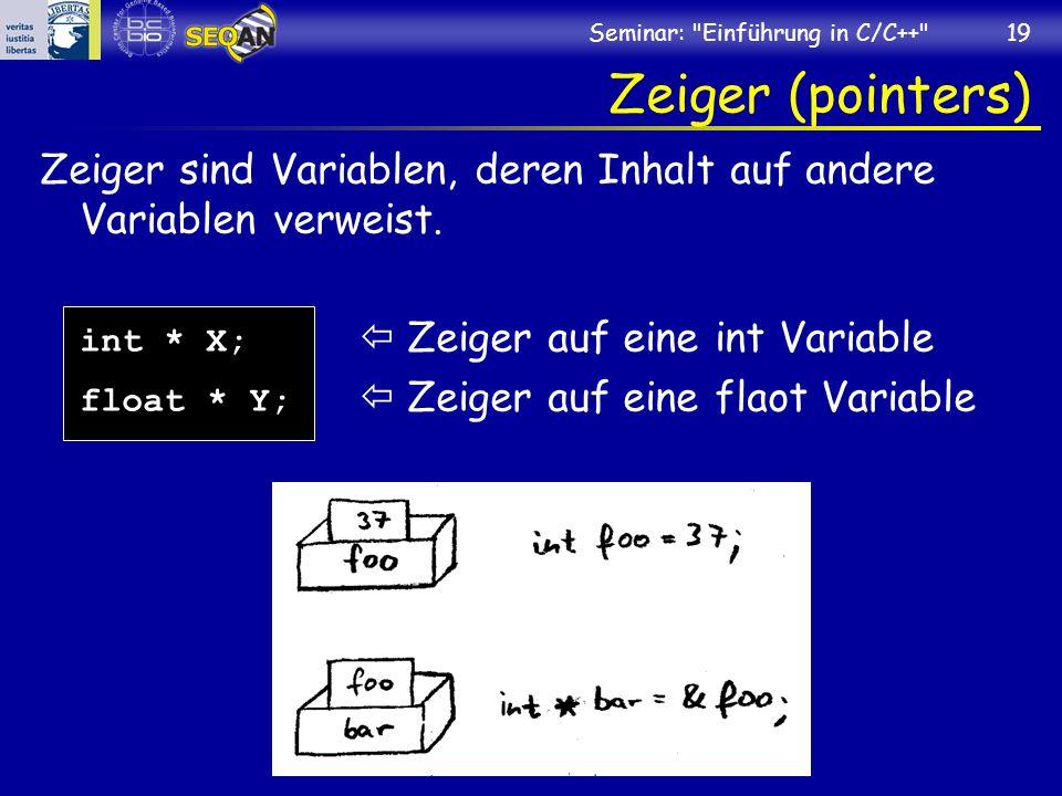 Seminar: Einführung in C/C++ 19 Zeiger (pointers) Zeiger sind Variablen, deren Inhalt auf andere Variablen verweist.