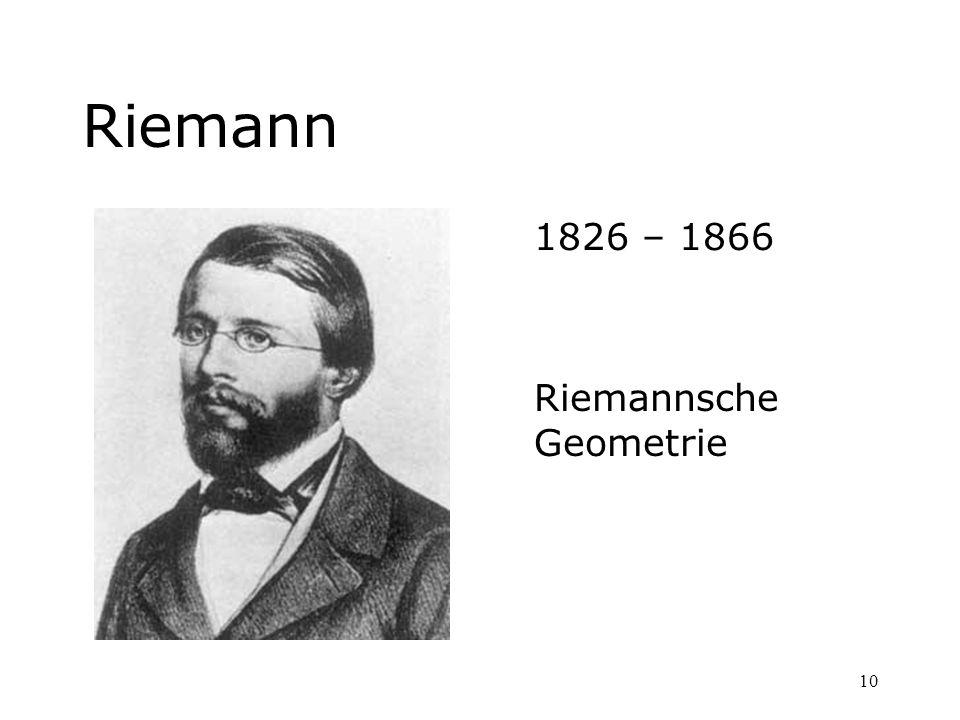 10 Riemann 1826 – 1866 Riemannsche Geometrie
