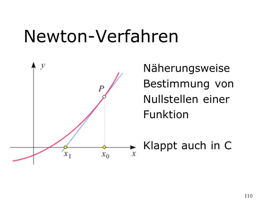 110 Newton-Verfahren Näherungsweise Bestimmung von Nullstellen einer Funktion Klappt auch in C
