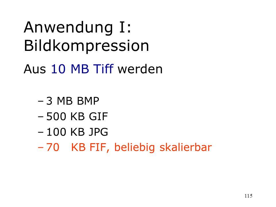 115 Anwendung I: Bildkompression Aus 10 MB Tiff werden –3 MB BMP –500 KB GIF –100 KB JPG –70 KB FIF, beliebig skalierbar