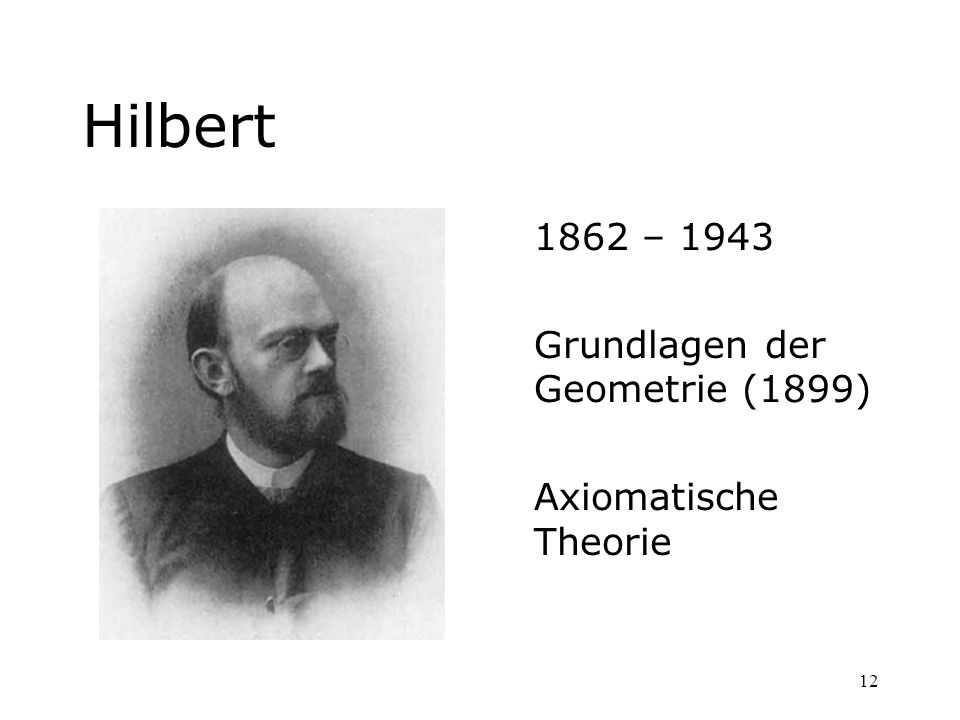 12 Hilbert 1862 – 1943 Grundlagen der Geometrie (1899) Axiomatische Theorie